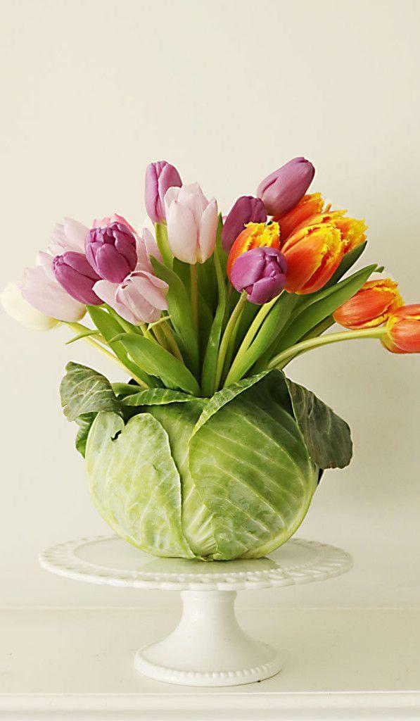 Tulipaner i kålhode som vase