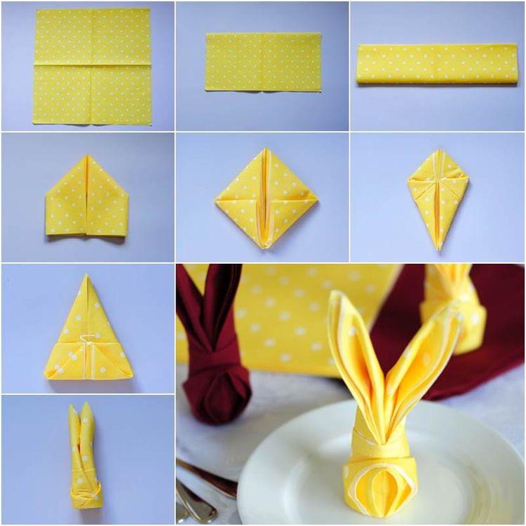 serviett bretting gul kanin